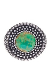 Savvy Cie Rhodium Plated Sterling Silver Round Reconstructed Green Turquoise Ring