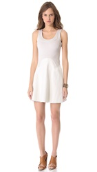 Cynthia Rowley Leather Combo Dress Light Grey
