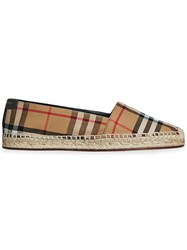 Burberry Vintage Check And Leather Espadrilles Brown