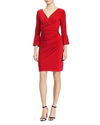 Ralph Lauren Shirred Bell Sleeve Dress Parlor Red