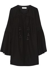 Rachel Zoe Helen Silk Crepe De Chine Mini Dress Black