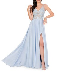 Glamour By Terani Couture Embroidered Train Gown Powder Blue