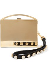 Eddie Borgo Lou Embellished Leather Trimmed Gold Tone Clutch Metallic
