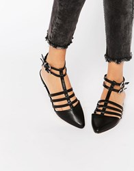Asos Los Angeles Pointed Caged Ballet Flats Black