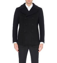 Tom Ford Double Breasted Wool Peacoat Black