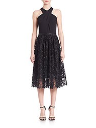 Carmen Marc Valvo Halter Mesh Cocktail Dress Black