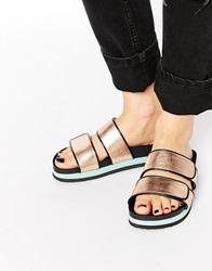 Monki Macy Bronze Flatform Double Strap Sandals