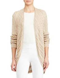 Lauren Ralph Lauren Cable Knit Open Front Cardigan Pale Wheat