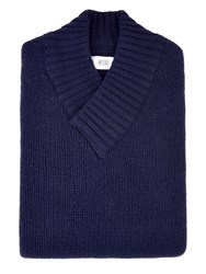 Mr. Start Chunky Cross V Neck Sweater Navy Blue