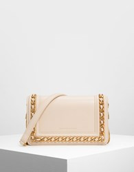 Charles And Keith Chain Rimmed Clutch Ltpink