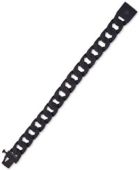 Esquire Men's Jewelry Wide Curb Link Bracelet In Black Ion Plated Stainless Steel First At Macy's