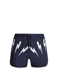 Neil Barrett Lightning Bolt Print Swim Shorts Navy Multi