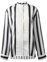 Haider Ackermann Collarless Stripe Blouse Black