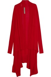 Rick Owens Draped Cashmere Cardigan Red