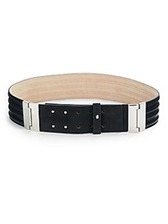 Lafayette 148 New York Leather And Suede Obi Belt Black