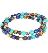Nialaya 14Ct Gold Skull Tiger Eye And Turquoise Beaded Bracelet Blue Multi