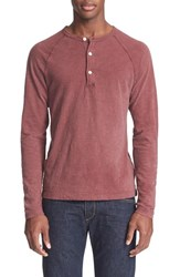 Todd Snyder Men's Long Sleeve Cotton Jersey Henley Crimson