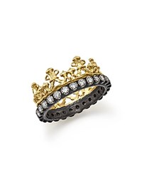 Armenta 18K Yellow Gold And Blackened Sterling Silver Old World Half Crown Diamond Ring White Multi