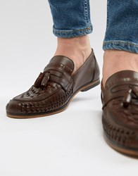 Asos Design Loafers In Woven Tan Leather With Tassel Detail Brown