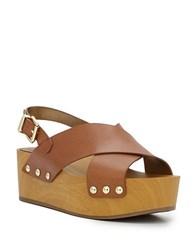 Sam Edelman Studded Leather Wooden Wedge Sandals Saddle
