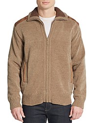 Saks Fifth Avenue Chenille Zip Front Cardigan Tan
