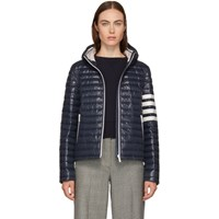 Thom Browne Navy Quilted Hooded Down Jacket