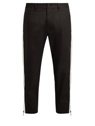Dolce And Gabbana Side Zip Cropped Pique Trousers Black