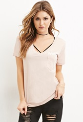 Forever 21 Brooklyn Pocket Graphic Tee Blush White