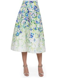 Phoebe Couture Floral Print A Line Midi Skirt Green Multi