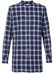 Ovadia And Sons Collarless Plaid Shirt Men Cotton Polyurethane M Blue