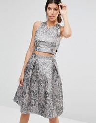 True Decadence Metallic Crop Top In Jacquard Pewter Jacquard Silver