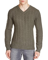 The Men's Store At Bloomingdale's Cashmere Cable V Neck Sweater Medium Heather Green