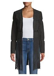 Ramy Brook Macklyn Suede Fringe Jacket Black