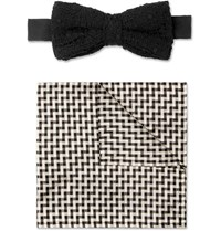 Marwood Cotton Lace And Silk Bow Tie And Pocket Square Set Black