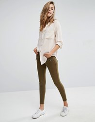 Abercrombie And Fitch Low Rise Skinny Trousers With Zips Green