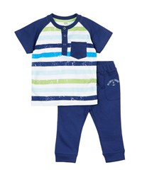 Petit Lem Fishy Fishy Striped Tee And Sweatpants Set Navy