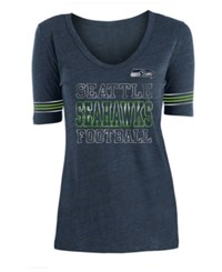 5Th And Ocean Seattle Seahawks Tri Blend Foil Sleeve Stripe T Shirt Navy