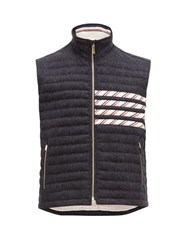 Thom Browne 4 Bar Quilted Down Wool Gilet Navy