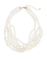 Romeo And Juliet Couture Multi Strand Iridescent Pearly Necklace White