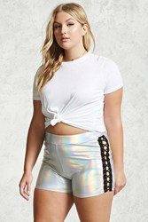 Forever 21 Plus Size Holographic Shorts Silver