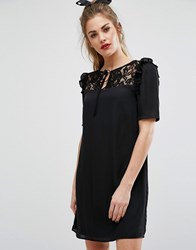 Fashion Union Short Sleeve Dress With Lace Panel And Tie Up Bow Neck Black