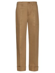 Mafalda Von Hessen Wide Leg Cotton Blend Trousers Beige