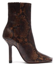 Vetements Boomerang Python Effect Leather Ankle Boots Dark Brown