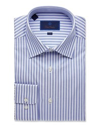 David Donahue Trim Fit Railroad Stripe Dress Shirt Blue