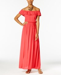 Speechless Off The Shoulder Maxi Dress Coral