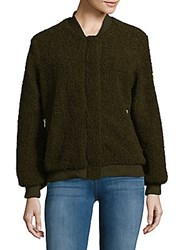 Candc California Faux Fur Bomber Jacket Olive