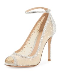 Gianvito Rossi Degrade Crystal Peep Toe Ankle Strap Pump Silver Clear Silver Nappa Clea
