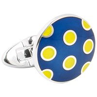 Thomas Pink Hayton Spot Cufflinks Navy Yellow