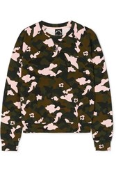 The Upside Camouflage Print Stretch Jersey Sweatshirt Army Green