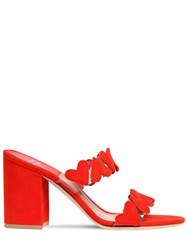 Laurence Dacade 85Mm Tara Plexi And Suede Mules Red